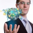 Social Network concept :young business man holding earth of soci — Stock Photo