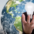 Business man holding light bulb  (Elements of this image furnish — Foto de Stock