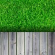 Fresh spring green grass with wood floor — 图库照片