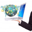 Stock Photo: Business person holding Laptop with social network on earth (Ele