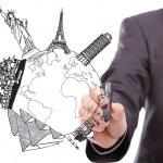 Businessman drawing World travel (Japan,France,Italy,New York,I — Stock Photo #30517583