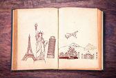 Book of travel (Japan,France,Italy,New York,India,egypt) — Stock Photo