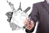 Uomo d'affari, viaggi mondo di disegno (francia, italia, giappone, new york, ho — Foto Stock