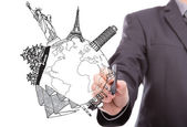 Businessman drawing World travel (Japan,France,Italy,New York,I — Stockfoto