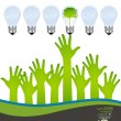 Hands and green ecology light bulb. Vector illustration. — Imagens vectoriais em stock