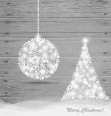 Christmas ball and Christmas tree with snowflakes on wood backgr — Stock Vector