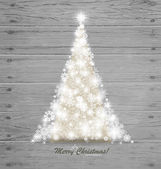 Christmas tree on wood background. Vector illustration. — Vettoriale Stock