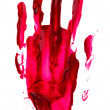 Bloody print of a hand and fingers on white wall — Stock Photo #31280779