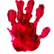 Bloody print of a hand and fingers on white wall — Stock Photo