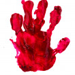 Stock Photo: Bloody print of a hand and fingers on white wall