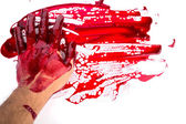 Halloween concept : bleeding hand on the white background — Stock Photo