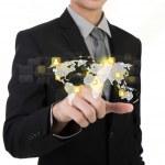 Business man touching an imaginary screen of social network agai — Stock Photo