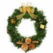 Christmas wreath isolated on white — Foto Stock