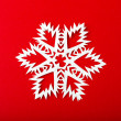 Stock Photo: Vintage Christmas postcard with true paper snowflakes