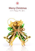 Shiny golden Christmas bells decorated — Stock Photo