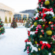 Christmas tree with decoration and snow — Stock Photo