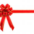 Stock Photo: Red and gold gift bow and ribbon isolated on white background