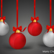 Christmas balls with ribbon and bow, vector illustration. — Imagens vectoriais em stock