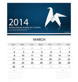 2014 calendar, monthly calendar template for March (Origami pape — Stock Vector