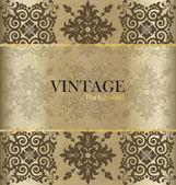 Vintage background with golden vintage label. Vector illustratio — 图库矢量图片