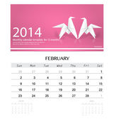 2014 calendar, monthly calendar template for February (Origami p — Stock Vector