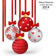 Christmas balls with ribbon and bow, vector illustration. — Stock vektor