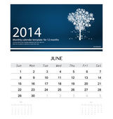 2014 calendar, monthly calendar template for June (Christmas tre — Stock Vector