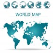 World map. Vector Illustration. — Vettoriali Stock