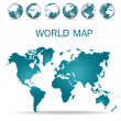 World map. Vector Illustration. — Stock Vector