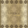 Vintage background with golden vintage label. Vector illustratio — Grafika wektorowa