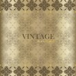 Vintage background with golden vintage label. Vector illustratio — Stok Vektör