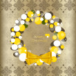 Merry Christmas greeting card with vintage background, vector il — 图库矢量图片