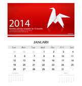 2014 calendar, monthly calendar template for January (Origami pa — Stock Vector