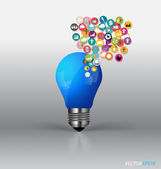 Bulb with cloud of colorful application. Vector illustration. — Stock Vector