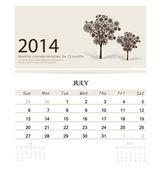 2014 calendar, monthly calendar template for July (Christmas tre — Cтоковый вектор
