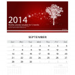 2014 calendar, monthly calendar template for September (Christma — Stock Vector
