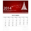 2014 calendar, monthly calendar template for December (Christmas — Stock Vector