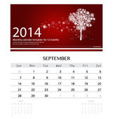 2014 calendar, monthly calendar template for September (Christma — Cтоковый вектор