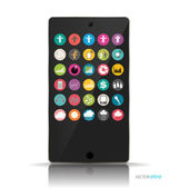 Touchscreen device with application web icons. Vector illustrati — Stock Vector