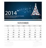 2014 calendar, monthly calendar template for November (Christmas — Cтоковый вектор