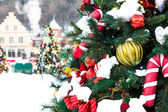 Christmas decoration with snow — Stock Photo