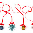Christmas decoration with bows isolated on white background — Stock Photo