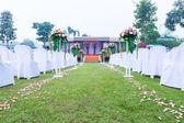 Wedding ceremony in a beautiful garden — Stock Photo