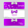 Set of card notes with beautiful gift bows. Vector illustration. — Stock Vector