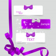 Set of card notes with beautiful gift bows and ribbons. Vector i — Cтоковый вектор