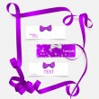 Set of card notes with beautiful gift bows and ribbons. Vector i — Vecteur