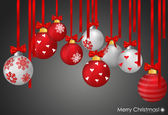 Christmas balls with ribbon and bow, vector illustration. — Stock Vector