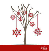 Abstract tree with snowflakes. Vector illustration. — 图库矢量图片