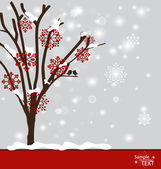 Abstract tree with snowflakes. Vector illustration. — Stock Vector