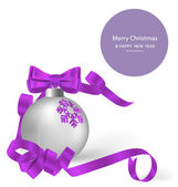 Christmas ball with ribbon and bow, vector illustration. — Stock Vector